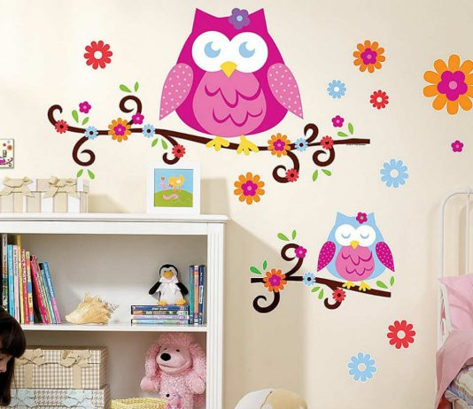pink owl wall decal