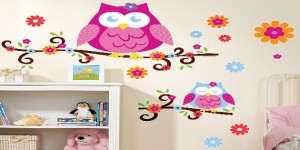 pink owl wall decals