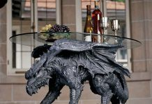 Warwickshire Dragon Glass Topped Coffee Table